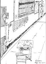 Photo: 值班舍房2010.09.13鋼筆 一整天為著發疼的背煎熬著,背後突然有人叫著我,原來是半夜裡辛苦加班的文楷,他問起我今天畫了什麼,我發現今天都還沒畫,於是快快提筆…