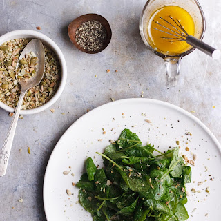 Kale Salad with Lemony Vinaigrette + Pumpkin Seed Dukkah