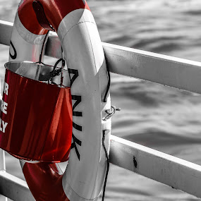 Out At Sea by Jen Weller - Products & Objects Industrial Objects ( monochrome, safety, red, boat, photography )