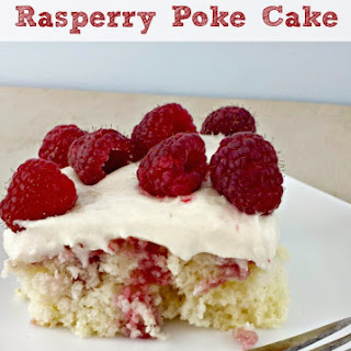 Raspberry Poke Cake with Almond Cream Cheese Frosting