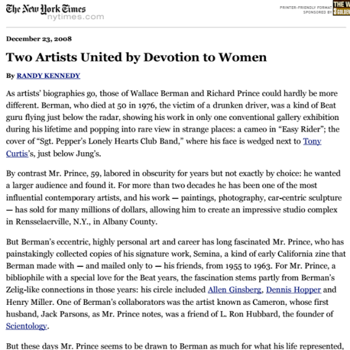 The New York Times, Two artists United by Devotion to Women