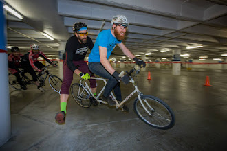Photo: Taylor races donated tandem before shipping it to Costa Rica