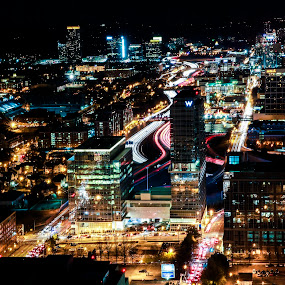 Atlanta time lapse at night by Sean Walker - Landscapes Starscapes ( night photography, atlanta downtown, long exposure, nightscape )