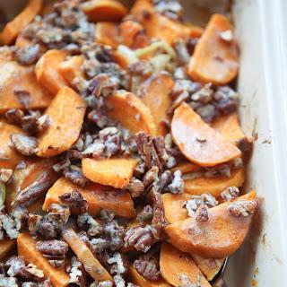 Savory Sweet Potato Gratin with Pecans