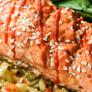 Honey-Lime Sriracha Salmon with Cold Sesame Cucumber Noodle Salad
