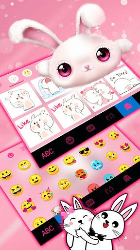 White Cute Bunny Keyboard Background screenshot 3