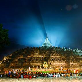 Borobudur Temple by Hatdy Tridjaja - Buildings & Architecture Public & Historical ( temple, budhis, hindu, indonesia, vesak, west java, night, borobudur )