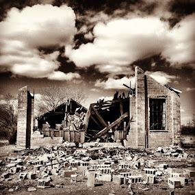Broken building by Geary LeBell - Instagram & Mobile iPhone ( urban exploration, urbex, structure, building, ue, dramatic, destruction, concrete block, cinder block, drama, concrete, collapse )