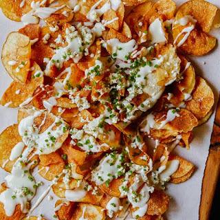 Homemade Potato Chips with Gorgonzola Cheese Sauce Recipe