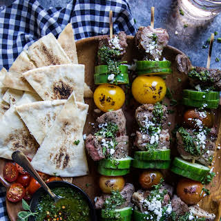 Grilled Lamb Skewers with Turkish Chimichurri.
