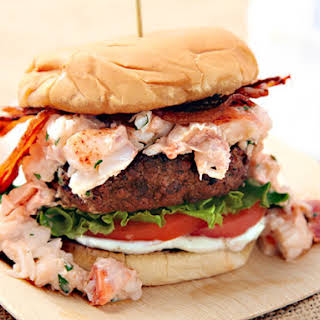 Surf N' Turf Burger (Grilled Burger With Lobster and Bacon).