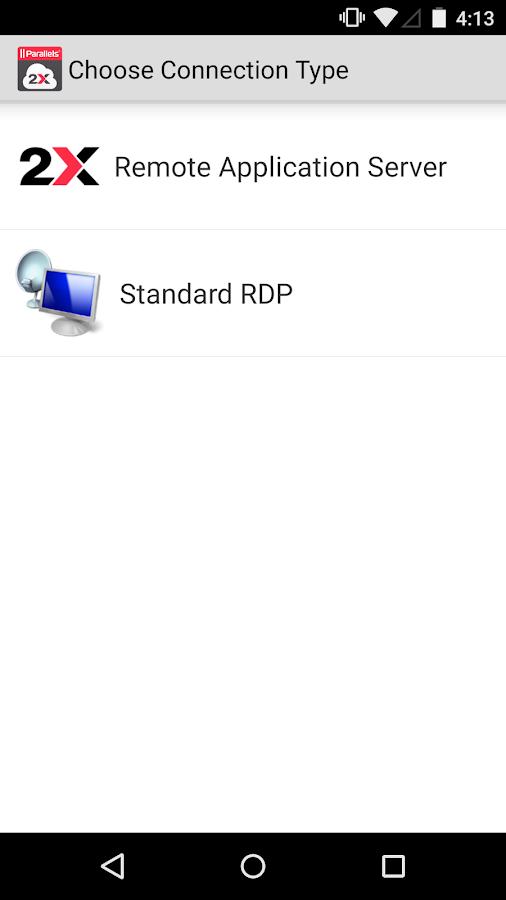 Parallels 2X RDP– Capture d'écran