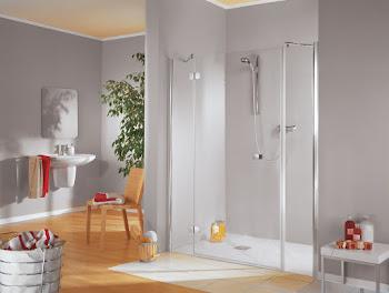 Porte de douche pivotante en niche, grand large