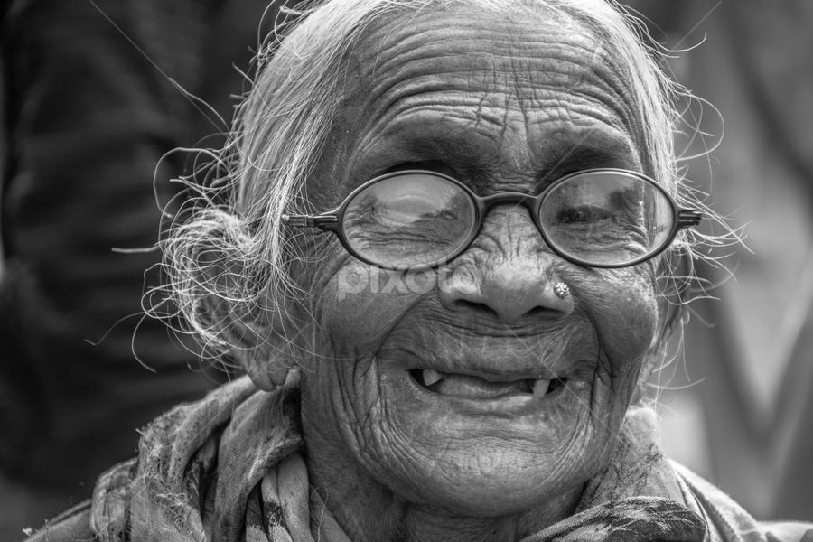 Hidden Smile  by Vishal  Singh - Uncategorized All Uncategorized ( old_lady, people, portrait, culture, travel photography )