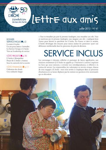 Lettre aux amis de la Fondation les Amis de L'Arche n°41_Service inclus