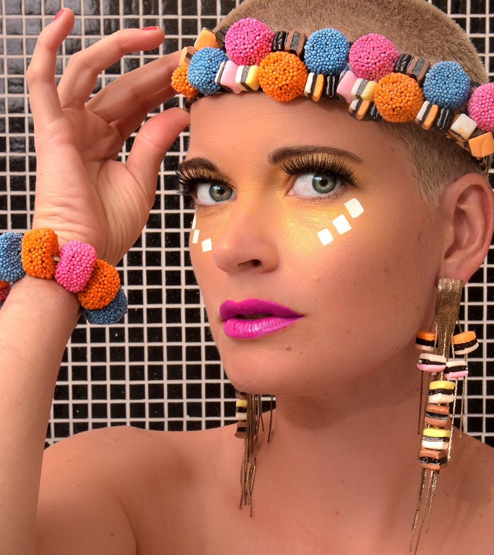 Christy Strever fashioned jewellery from Liquorice Allsorts for this shot.