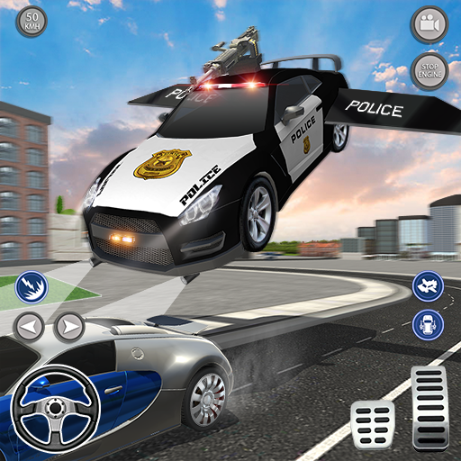 Flying Police Chase Car Driving Simulator
