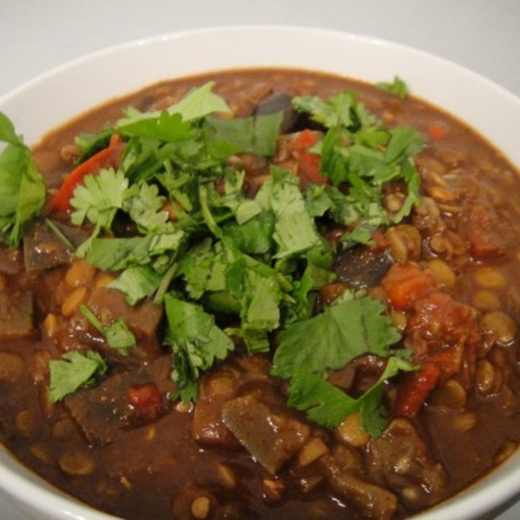 Lentil and Eggplant Chili Mole