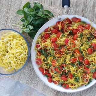 Yellow Summer Squash 'Spaghetti' with Roasted Tomato Sauce.