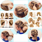 Step by step hair (female) icon