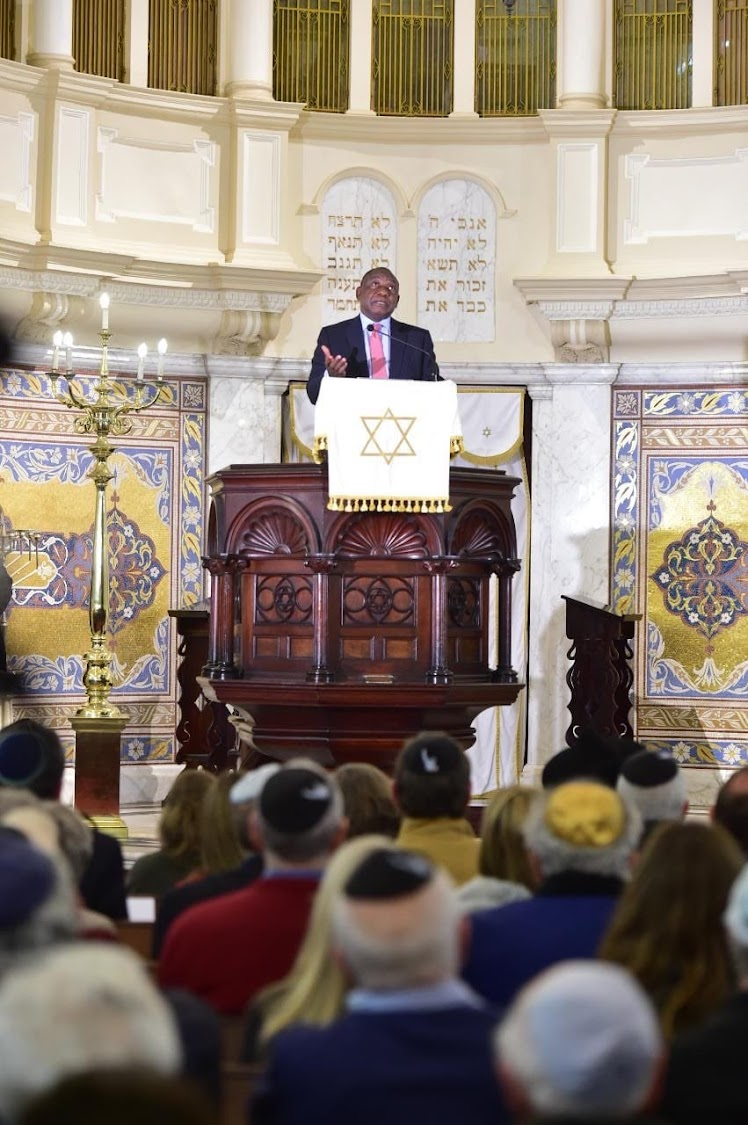 President Cyril Ramaphosa speaks at the Jewish New Year celebrations in Cape Town on Wednesday night.