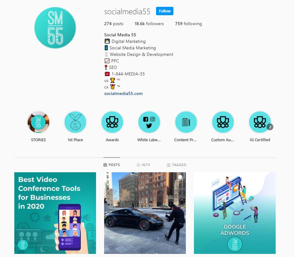 SocialMedia55 Instagram profile