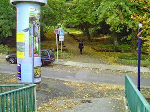 Photo: Der Zugang zum Stadtgarten an der Straße ,Elfriedenhöhe' von der Fußgängerbrücke über den Bergischen Ring aus.