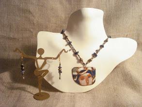 Photo: <BEREHYNYA> {Great Goddess Protectress} unique one-of-a-kind statement jewellery by Luba Bilash ART & ADORNMENT  Copper enamel pendant, lapis lazuli, brass, glass, 14K gold vermeil NFS