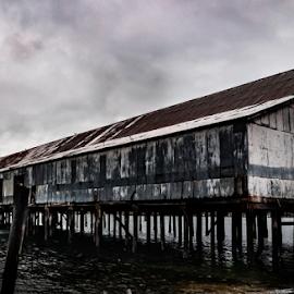 Alert Bay by Keith Sutherland - Uncategorized All Uncategorized ( ocean, fish plant, alert bay, pilings )