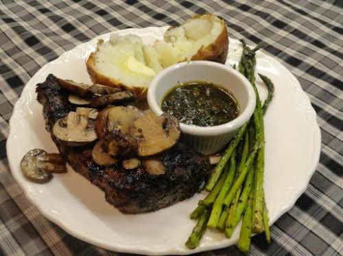 """Grilled Chimichurri Steak with pan grilled mushrooms and asparagus """"I tried the..."""