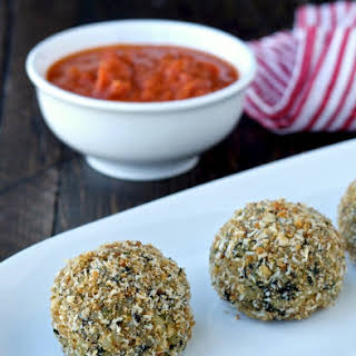 Baked Spinach and Cheese Rice Balls (Arancini).