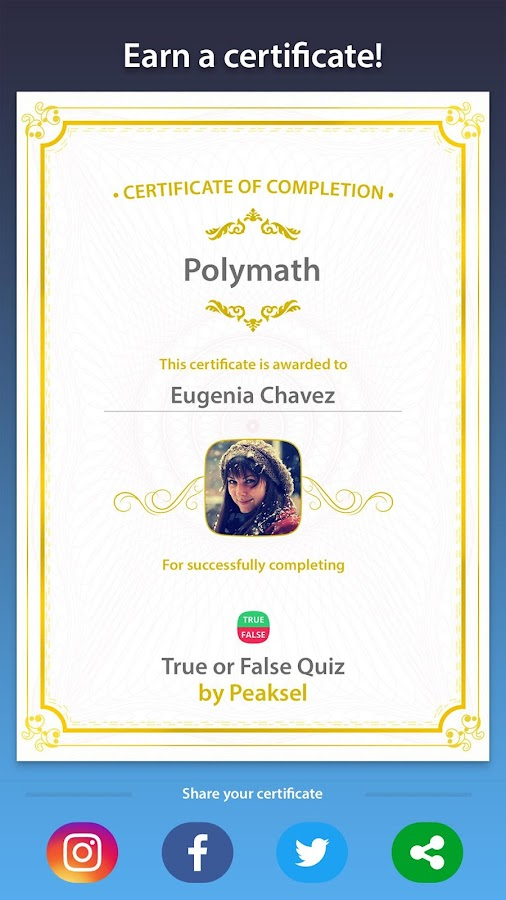 True or False Quiz- screenshot
