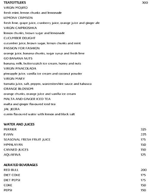Tease, Vivanta By Taj menu 1