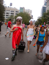 Photo: Finally walking to the gay pride march, Union Square West between East 16 and East 17 streets, Gramercy, 26 June 2011. (Photograph by Elyaqim Mosheh Adam.)