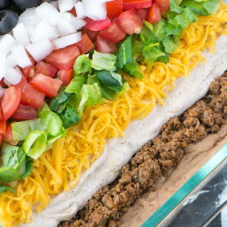 Mexican 7 Layer Taco Dip (with beef).