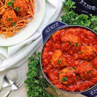 Healthy Italian Vegan Meatballs & Marinara Sauce.