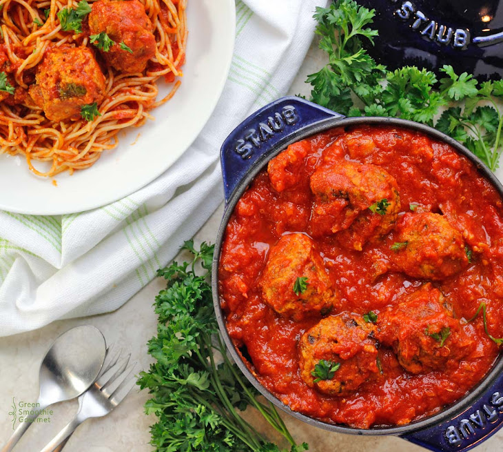 Healthy Italian Vegan Meatballs & Marinara Sauce Recipe