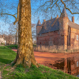 Castle Hernen by Petar Shipchanov - City,  Street & Park  City Parks ( sky, castle, reflections, holland, church, tree, netherlands, water, path, trail, panorama, grass, sunset, track, lake, hernen, walk )