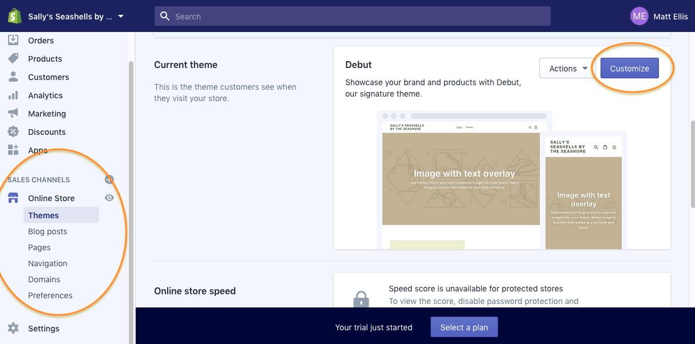 Screenshot of the Shopify website builder editor