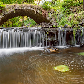 Under the old bridge... by Martin Namesny - Landscapes Waterscapes ( on the river, vortex, water, mountains, stream, old, goat, weir, under the weir, bridge, under the goat, historic, deserted, river )