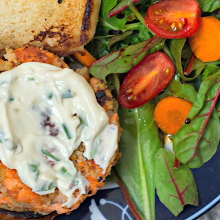 Wild Salmon Burgers with Lemon, Capers, and Toasted Sesame Mayonnaise.