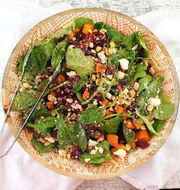 Pumpkin and Beet Salad with Hazelnuts and Feta