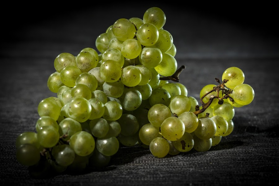Organic grapes on dark background, dramatic lights by Peter Mikuska - Food & Drink Fruits & Vegetables ( raw, juicy, diet, dieting, nature, autumn, fresh, grape, vegetarian, closeup, fruit, green, pwcfruit, agriculture, delicious, health, organic, nutrition, sweet, bio, color, food, background, summer, healthy, eating, freshness, harvest, vitamin, group, garden, natural, produce )