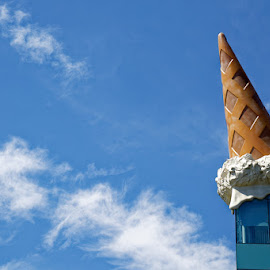 Dropped Cone (landscape format) by Johannes Oehl - Artistic Objects Other Objects ( window glass, big, blue background, neumarkt, glass walled, ice cream cone, shopping mall, deep focus, ground level view, building, sun light, beautiful, external view, cologne, huge, creativity, sunny, glassy, midday, curiosity, large, natural light, architecture-photography, nordrhein-westfalen, creative, strange, vibrant colour, contemporary, architectural detail, outside, color image, detail, pop-culture tourism, daytime, claes oldenburg, north rhine-westphalia, creative image, vibrant color, germany, neumarktgalerie, shopping centre, gigantic, low angle view, pop art, summer, modern, shopping center, design, fluffy, europe, lightskyblue, funny, architecture, altocumulus cloud, art, fair weather, contemporary art, cultural tourism, blue, outdoors, painting, dropped cone, exterior view, window, time, culture and the arts, summertime, colossal,  )