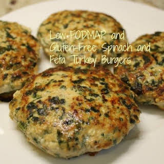 Low-FODMAP and Gluten-Free Spinach and Feta Turkey Burgers.