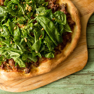 Harissa Lamb and Spinach Pizza