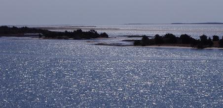 Photo: View from Radio Island of Bulkhead Channel, Town Marsh, Bird Shoal, Shackelford Slue and Shackelford Banks