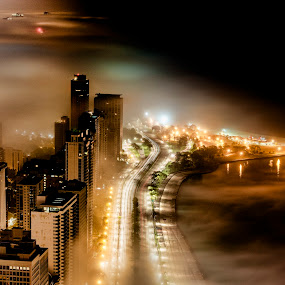 Floating City by John Harrison - City,  Street & Park  Skylines ( clouds, fog, d800, weather, chicago, jnhphoto, nightscape )