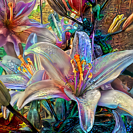 LILIES ABSTRACT ELODIE by Cassy 67 - Digital Art Things ( digital, love, harmony, abstract art, modern, light, style, abstract, creative, digital art, fashion, energy )