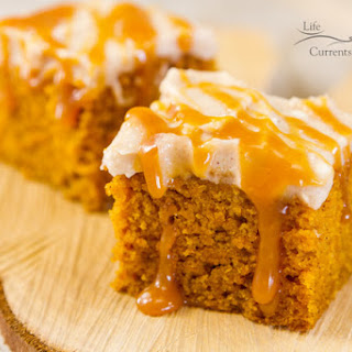 Pumpkin Spice Cake with Apple Butter Cream Cheese Frosting and Salted Caramel Sauce.